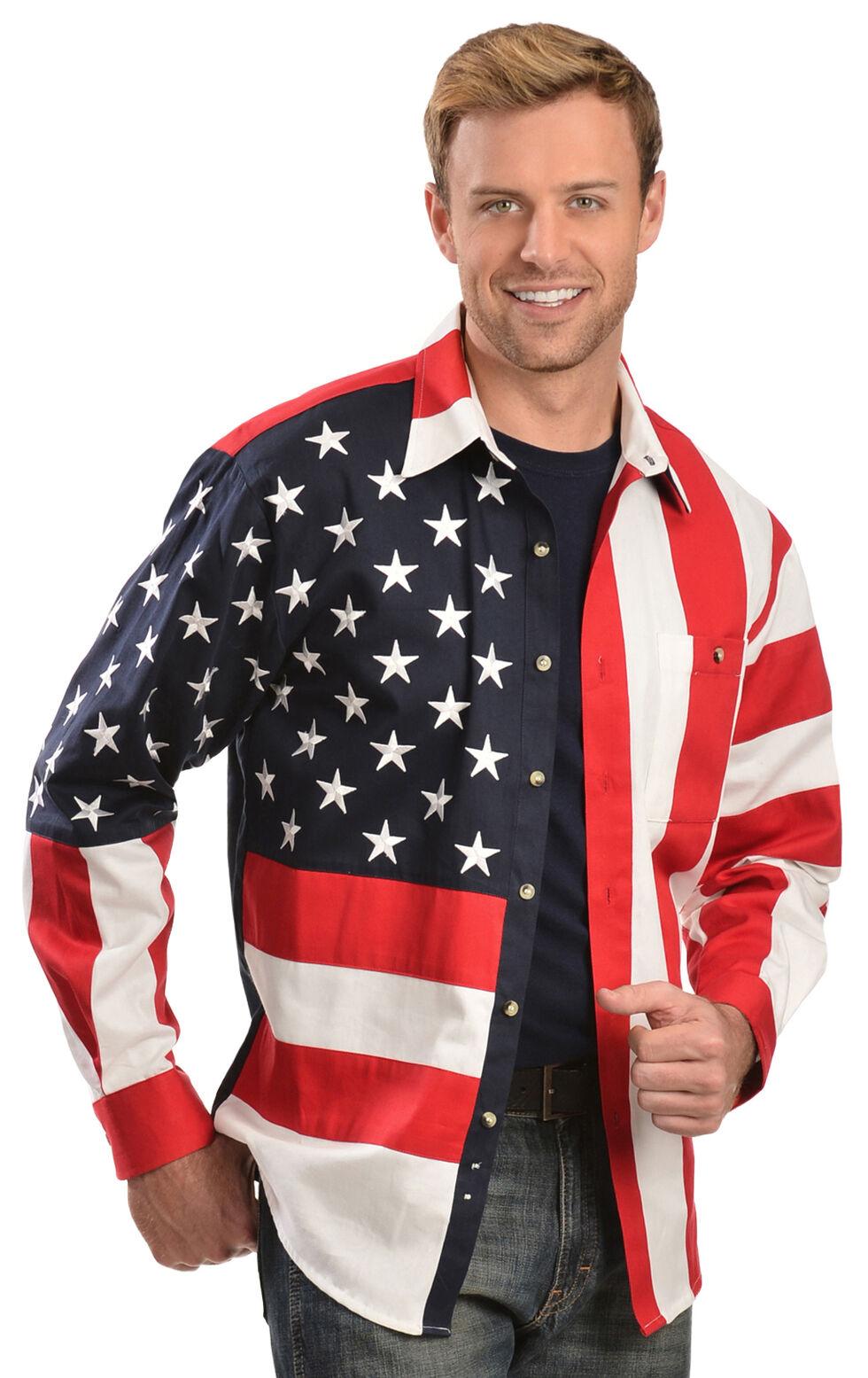 Scully Patriotic American Flag Western Shirt - Big & Tall, Multi, hi-res
