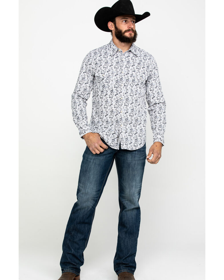 Rock & Roll Denim Men's Crinkle Washed Print Long Sleeve Western Shirt , White, hi-res
