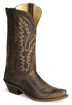 Old West Distressed Leather Cowgirl Boots  - Snip Toe, Dark Brown, hi-res