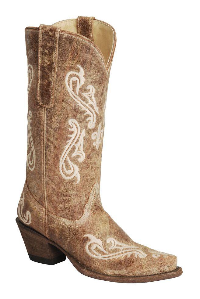 Corral Cortez Distressed Fleur-De-Lis Embroidered Cowgirl Boots - Snip Toe, Tan, hi-res