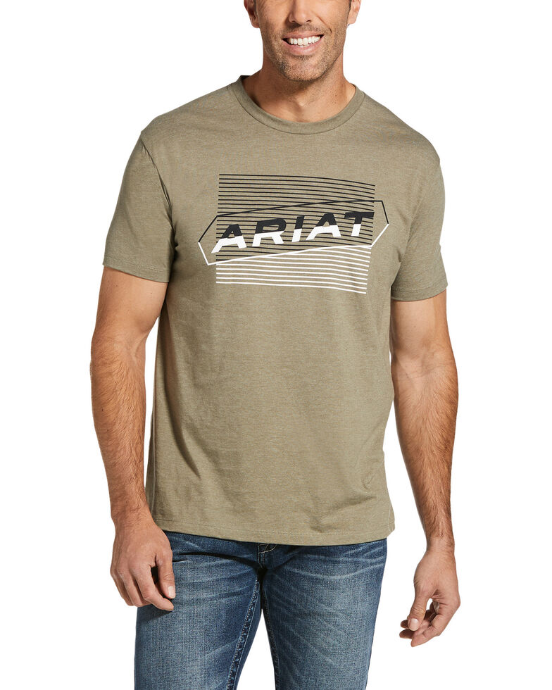 Ariat Men's Olive Parallel Two-Tone Logo Graphic T-Shirt , Olive, hi-res
