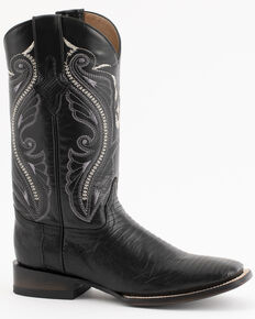 Ferrini Men's Lizard Cowboy Boots - Square Toe, Black, hi-res