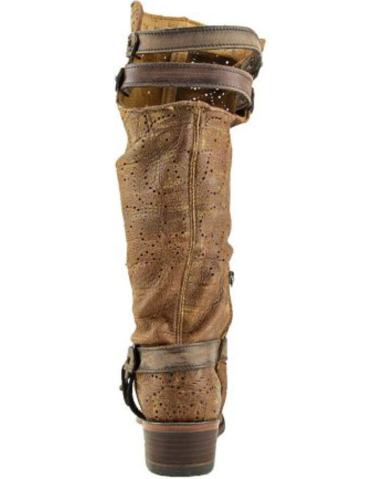 Corral Women's Slouch Harness & Top Strap Cowgirl Boots - Medium Toe , Cognac, hi-res