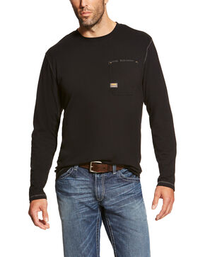 Ariat Men's Rebar Workman Long Sleeve Work T-Shirt - Tall, Black, hi-res