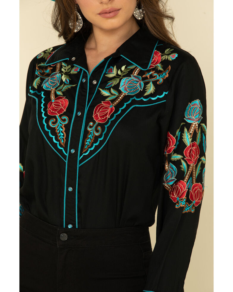 Honey Creek by Scully Women's Floral Embroidered Long Sleeve Western Shirt, Multi, hi-res