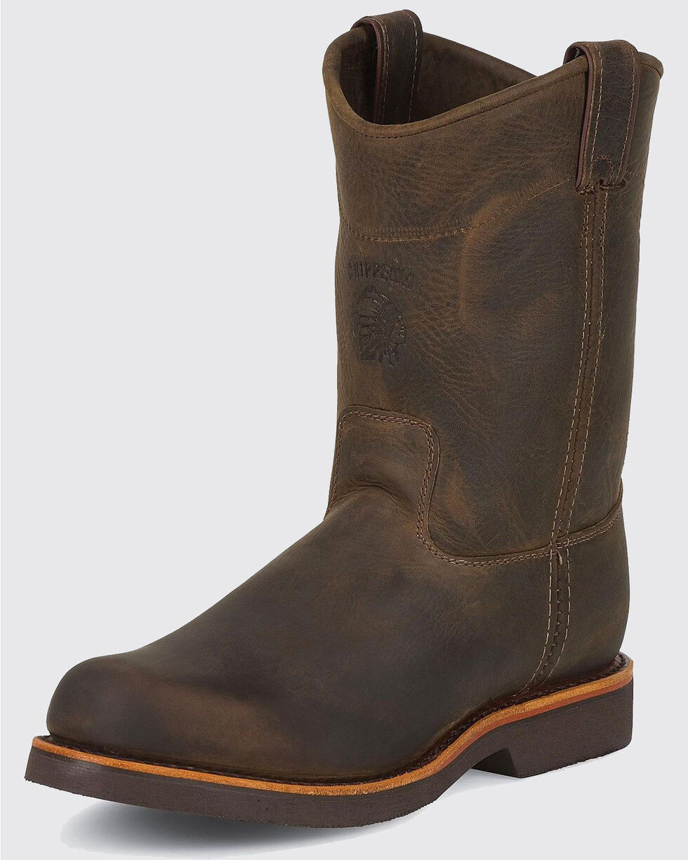 Chippewa Pull-On Work Boots - Round Toe, Chocolate, hi-res