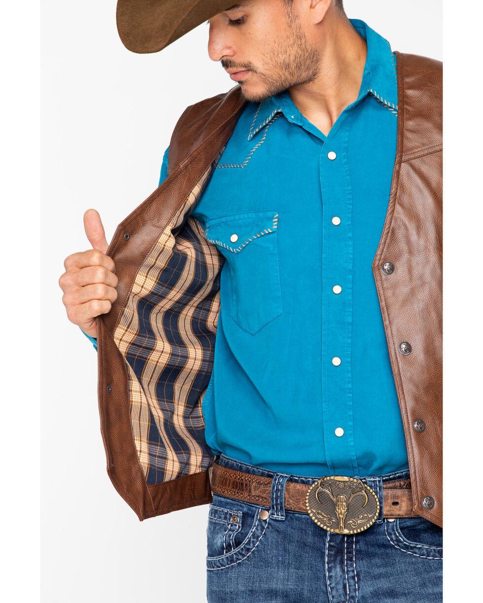 Cripple Creek Men's Whiskey Brown Faux Leather Vest , Med Brown, hi-res