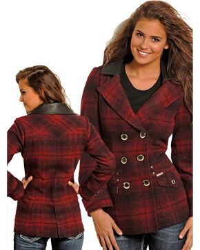 Powder River Women's Ombre Plaid Wool Double Breasted Coat, Red, hi-res