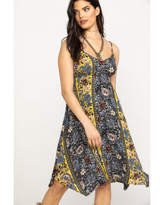 Shyanne Women's Mustard Floral Print Midi Dress, Dark Yellow, hi-res