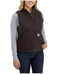 Carhartt Women's Dark Brown Washed Duck Sherpa Lined Vest - Plus, Dark Brown, hi-res