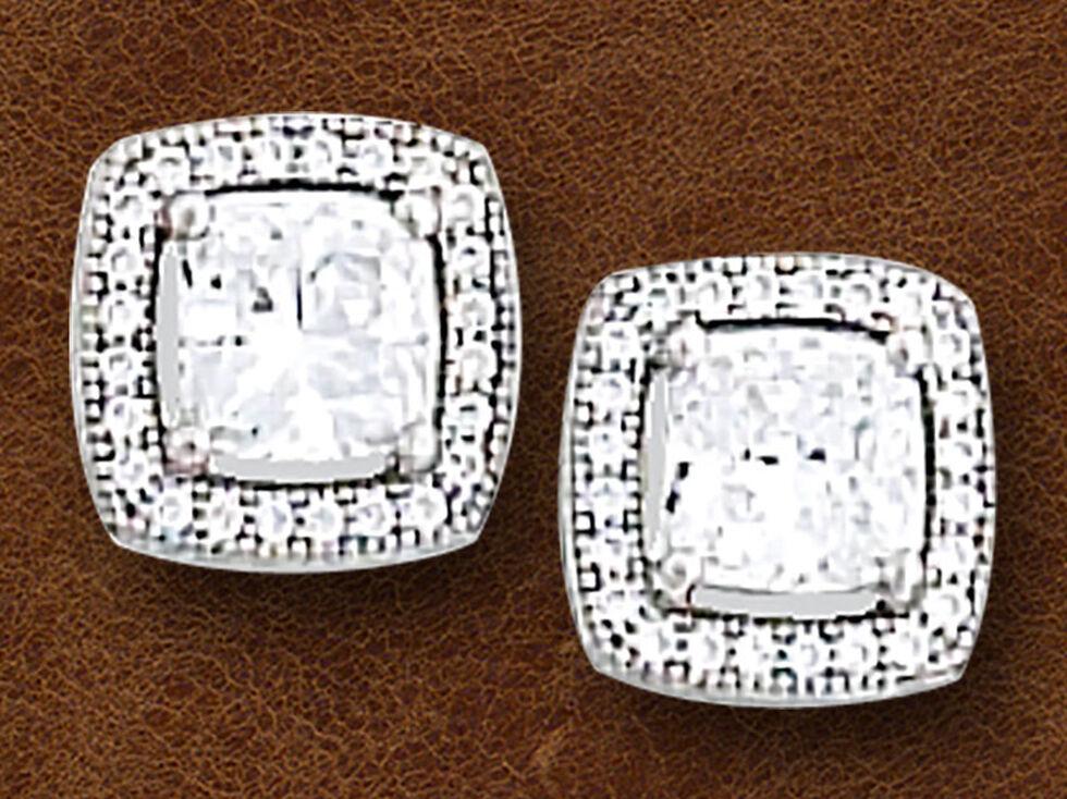 Kelly Herd Women's Sterling Silver Square Bezel Set Pave Earrings, Silver, hi-res