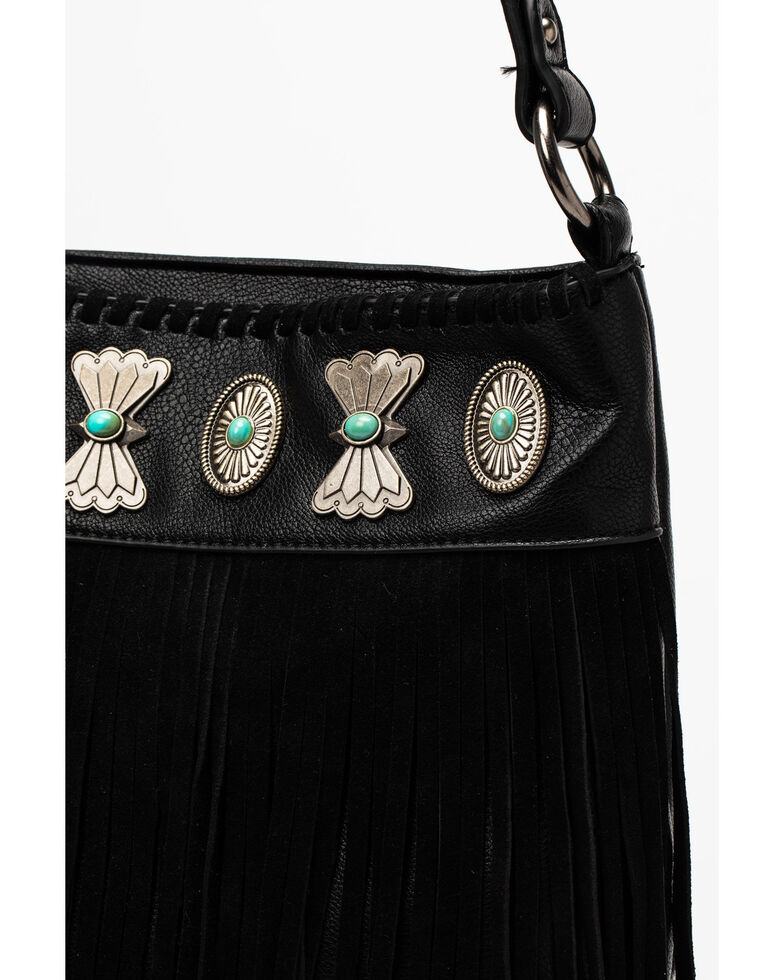 Shyanne Women's Black Fringe Satchel Bag, Black, hi-res