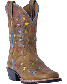 Dan Post Girls' Brown Starlett Leather Boots - Square Toe , Brown, hi-res