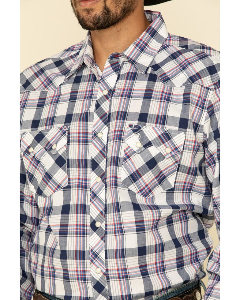 Wrangler Retro Men's Blue Med Plaid Long Sleeve Western Shirt , Blue, hi-res