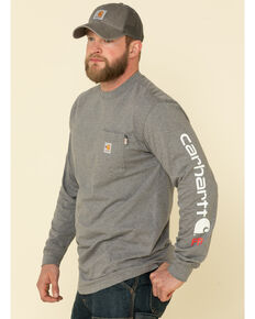 Carhartt Men's Granite M-FR Midweight Signature Logo Long Sleeve Work Shirt - Big , Grey, hi-res