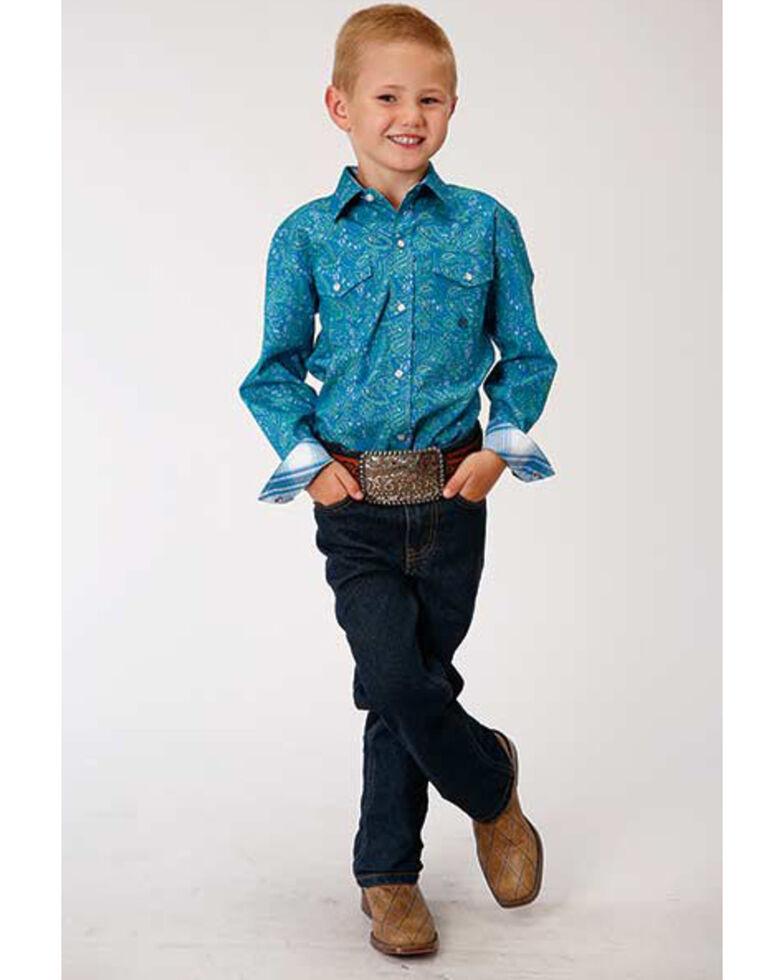 Amarillo Boys' Blue Ridge Paisley Print Long Sleeve Western Shirt, Turquoise, hi-res