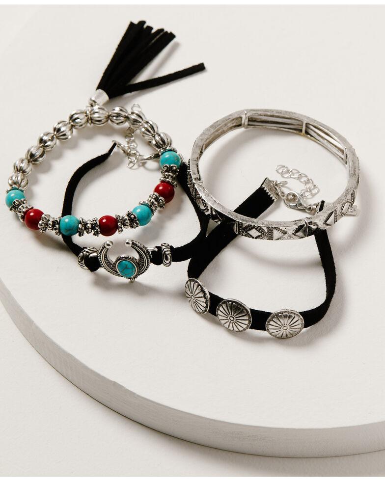 Shyanne Women's Wild Soul Concho Leather & Beaded Bracelet Set, Silver, hi-res