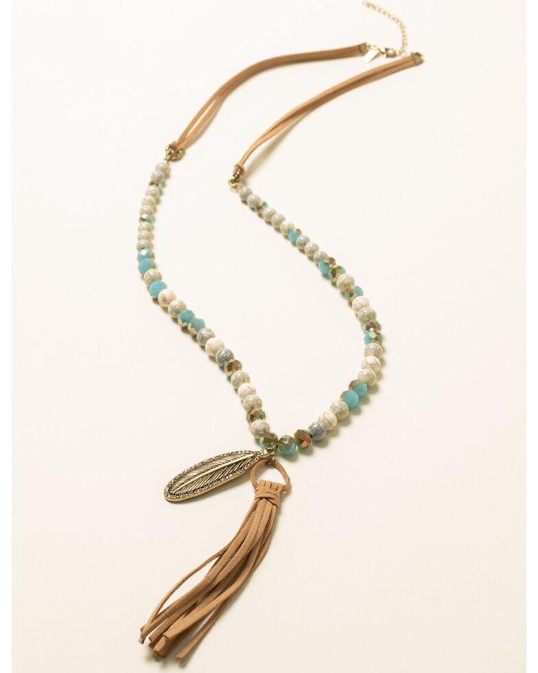 Shyanne Women's Feather Charm Tassel Necklace, Bronze, hi-res