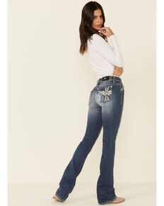 Miss Me Color Block Cross Chloe Bootcut Jeans , Blue, hi-res