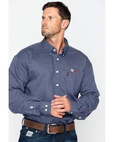 Cinch WRX Men's FR Navy Print Lightweight Button Down Work Shirt, Navy, hi-res