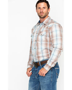 Cody James Men's Sand Point Plaid Long Sleeve Western Shirt, Brown, hi-res