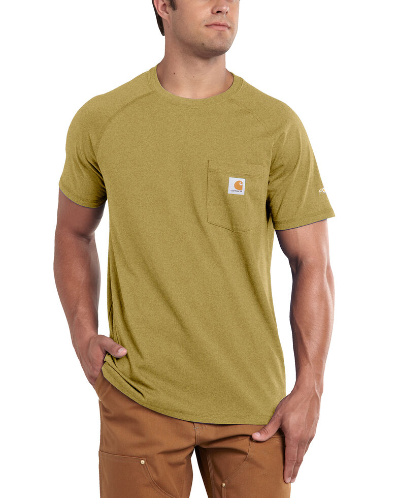 Carhartt Force Cotton Short Sleeve Work Shirt - Big & Tall, Gold, hi-res