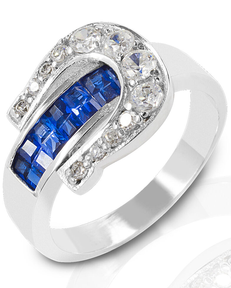 Kelly Herd Women's Blue Contemporary Buckle Ring , Silver, hi-res