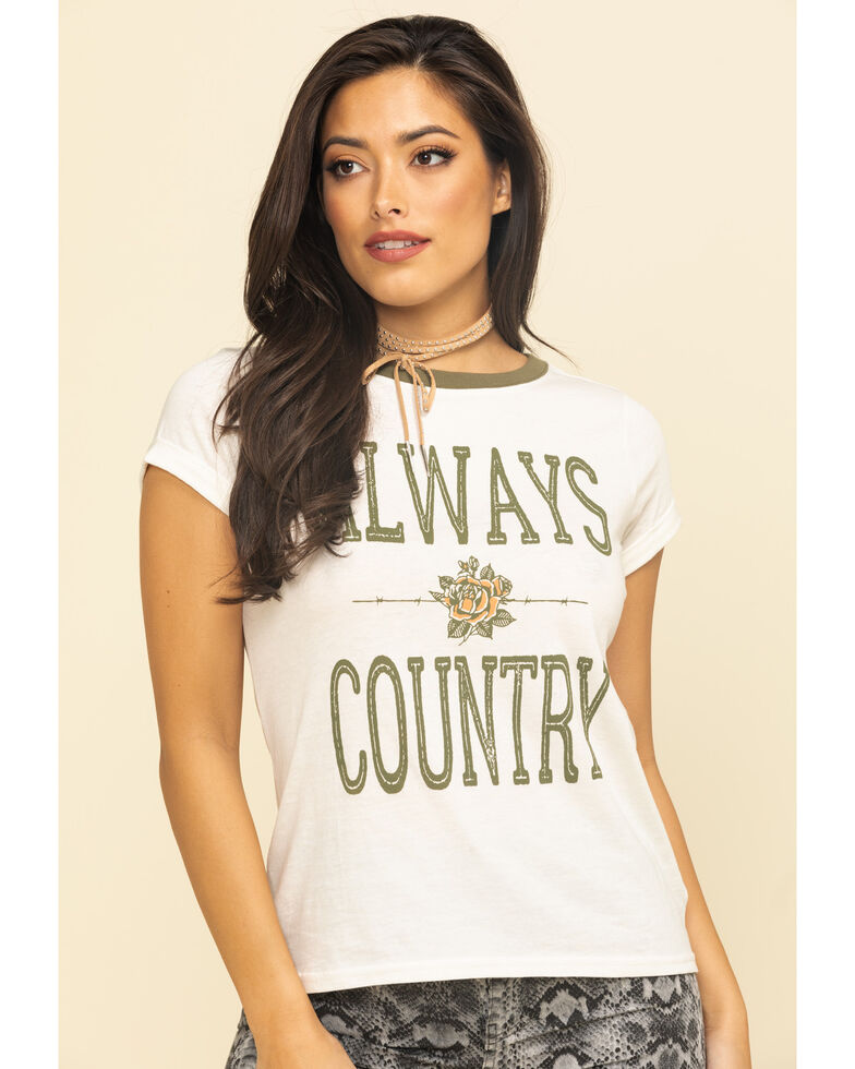 Shyanne Life Women's Always Country Ringer Tee, Ivory, hi-res