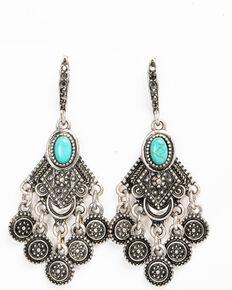 Shyanne Women's Sedona Spice Turquoise Stone Chandelier Earrings, Silver, hi-res