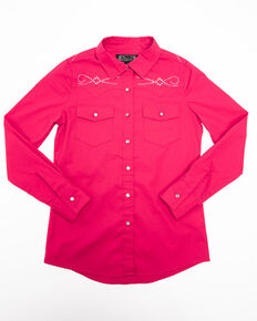 Shyanne Girls' Solid Rhinestone Button Down Western Shirt, Pink, hi-res