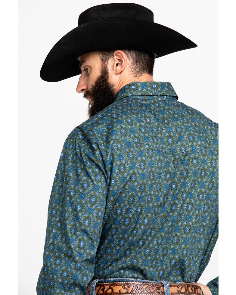 Roper Men's Green Amarillo Meadow Paisley Print Long Sleeve Western Shirt , Green, hi-res