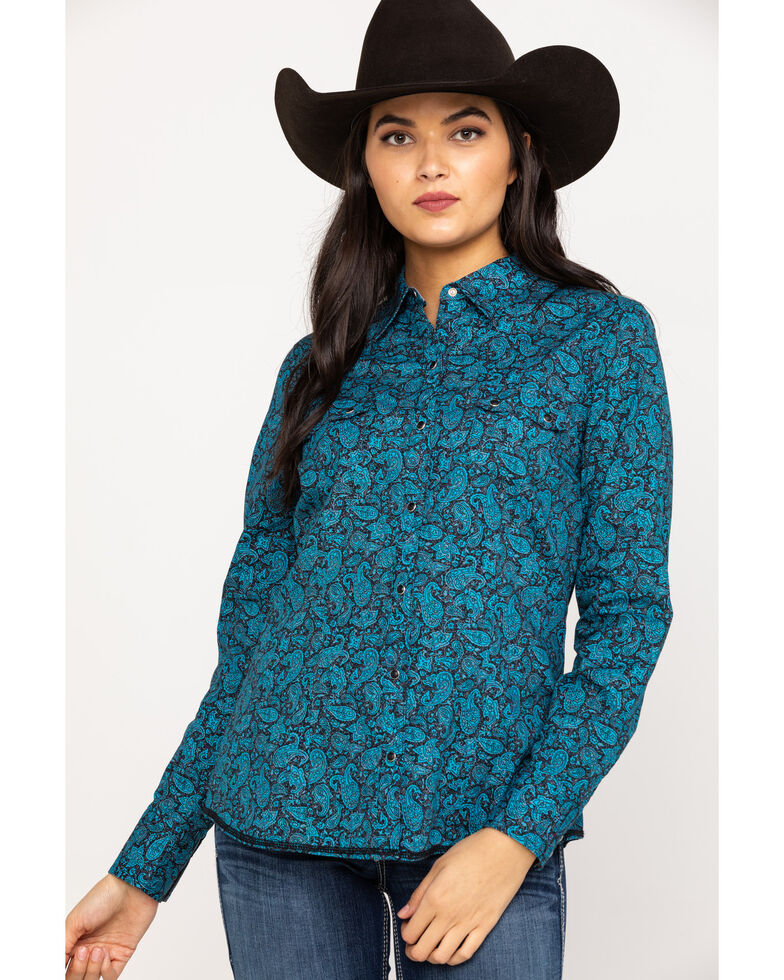 Roper Women's Blue Poplin Paisley Print Long Sleeve Western Shirt, Blue, hi-res