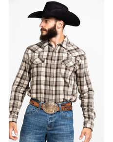 Cody James Men's Sand Storm Plaid Long Sleeve Western Flannel Shirt , Grey, hi-res