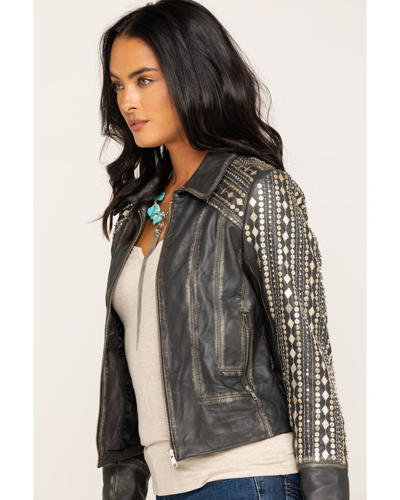 Idyllwind Women's Center Stage Leather Jacket, Grey, hi-res