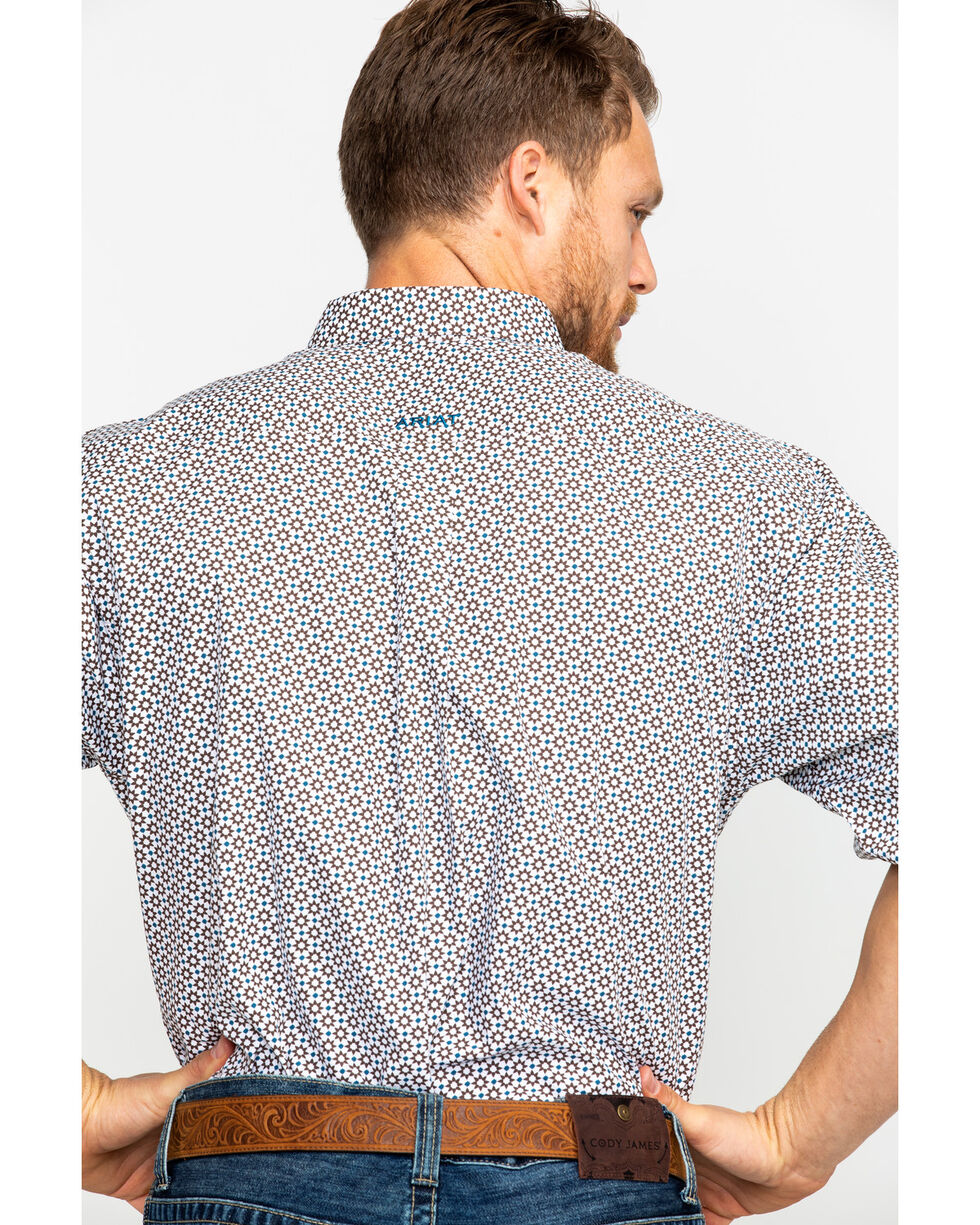 Ariat Men's Harcus Geo Print Short Sleeve Western Shirt , White, hi-res