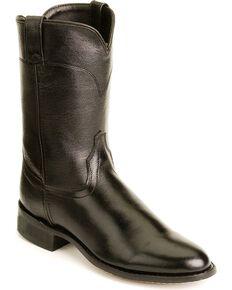 Old West Leather Roper Cowboy Boots, Black, hi-res