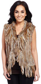 Cripple Creek Women's Rabbit Fur Vest, Tan, hi-res