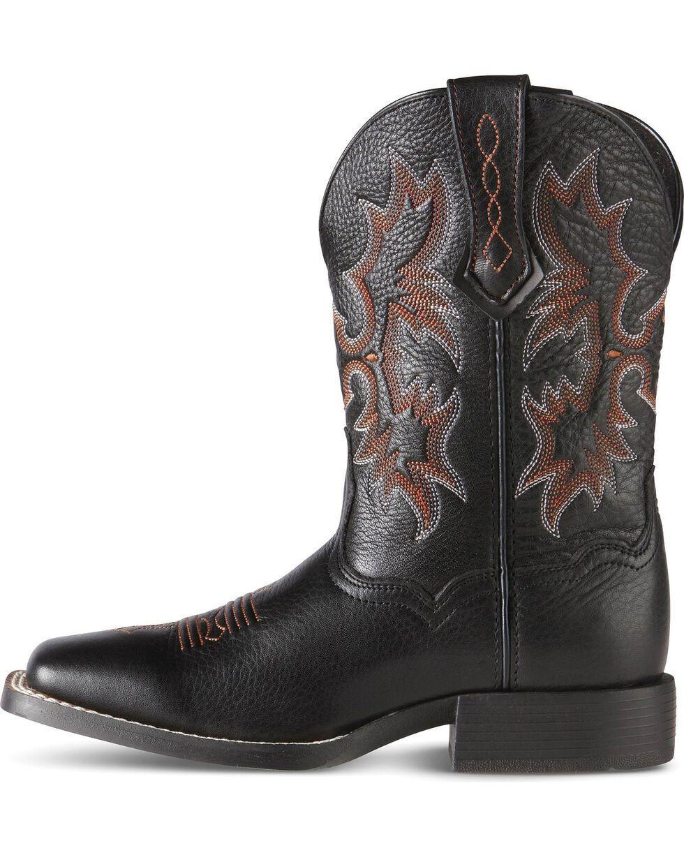 Ariat Youth Boys' Tombstone Black Deertan Cowboy Boots, Black, hi-res