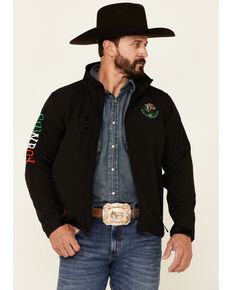 Cowboy Hardware Men's Black Mexico Flag Logo Sleeve Zip-Front Poly Shell Jacket , Black, hi-res