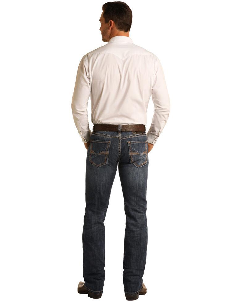 Rock & Roll Denim Men's Dark Vintage Revolver Stretch Slim Straight Jeans , Indigo, hi-res