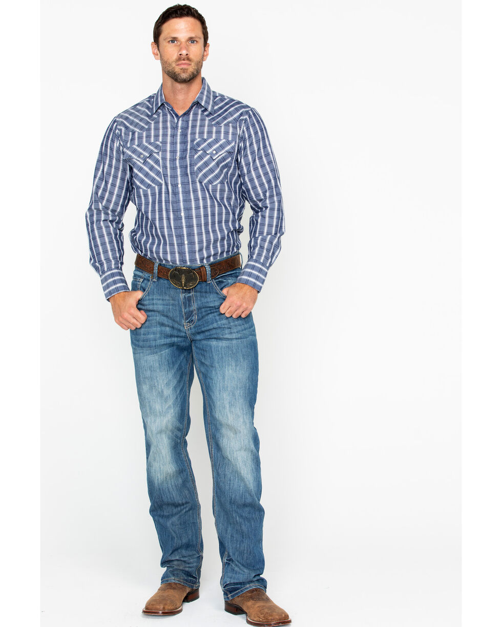 Ely Cattleman Men's Textured Plaid Long Sleeve Western Shirt  , Blue/white, hi-res