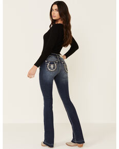 Miss Me Women's Medium Wash Slim Bootcut Horseshoe Longhorn Jeans , Blue, hi-res