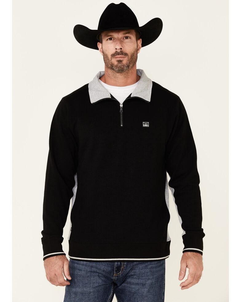 Kimes Ranch Men's Black Dash 1/4 Zip-Front Pullover , Black, hi-res