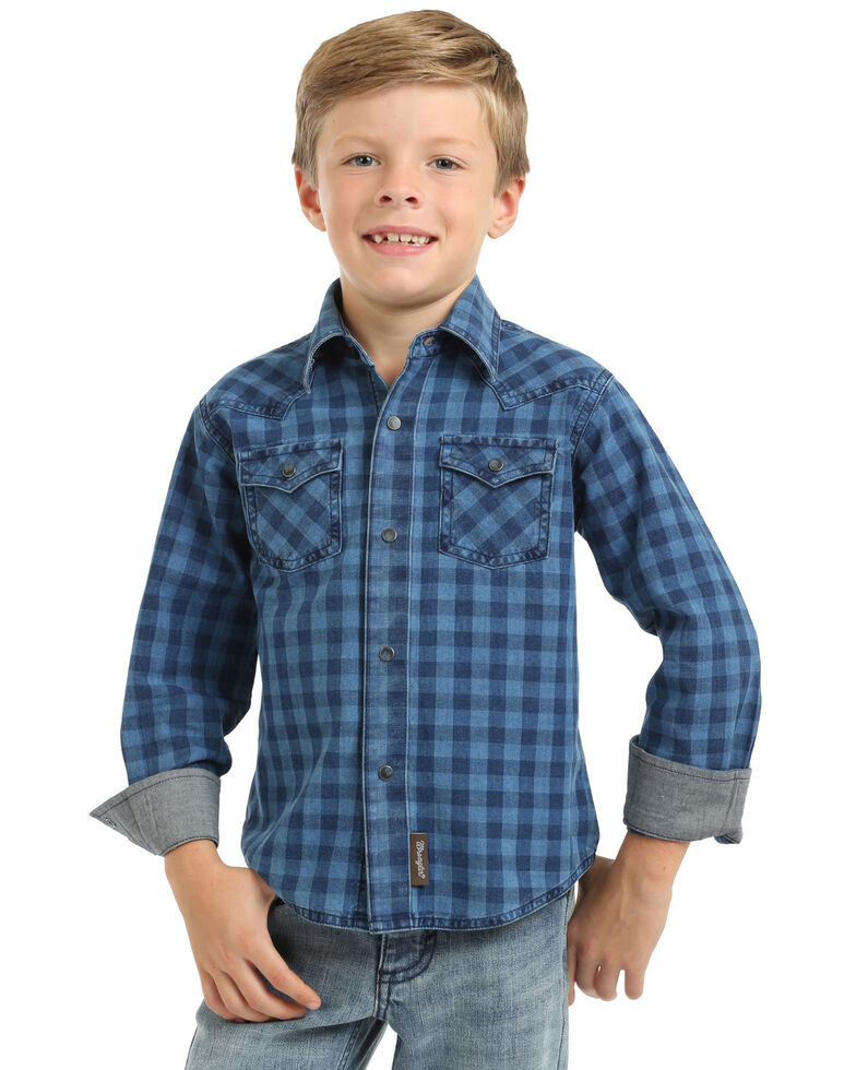 Wrangler Retro Boys' Indigo Check Plaid Long Sleeve Western Shirt , Blue, hi-res