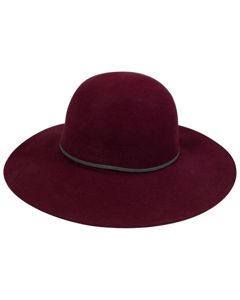 San Diego Hat Company Women's Merlot Round Raw Edged Wool Felt Floppy Hat, Maroon, hi-res