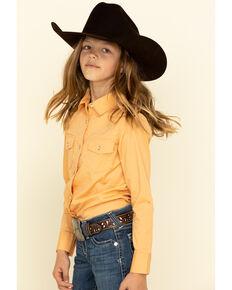 Shyanne Girls' Orange Rhinestone Long Sleeve Western Shirt , Orange, hi-res