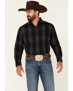 Resistol Men's Azie Large Ombre Plaid Long Sleeve Button-Down Western Shirt , Navy, hi-res