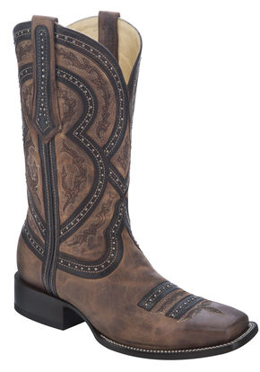 Corral Studded Overlay Cowboy Boots - Square Toe, Brown, hi-res