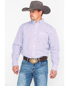 efeb66d188 George Strait by Wrangler Purple Geo Print Long Sleeve Western Shirt