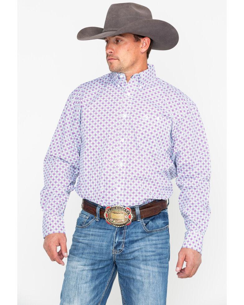 George Strait by Wrangler Men's Purple Geo Print Long Sleeve Western Shirt , Purple, hi-res
